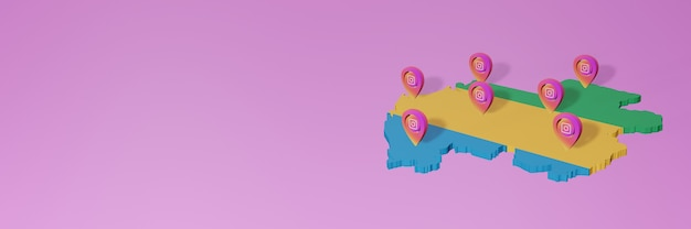 Use and distribution of social media instagram in gabon for infographics in 3d rendering
