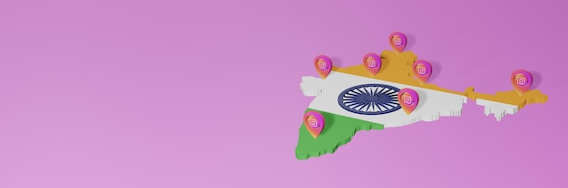 Use and distribution of social media instagram in india for infographics in 3d rendering