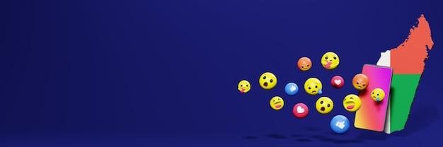 Используйте смайлик из социальных сетей на мадагаскаре для нужд телевидения в социальных сетях и фона веб-сайтов