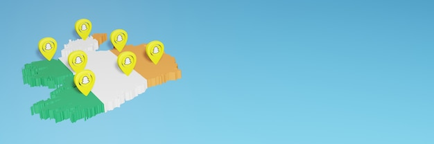 ソーシャルメディアテレビとウェブサイトの背景カバーのニーズのためのアイルランドでのsnapchatの使用