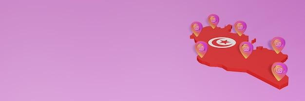 3dレンダリングのインフォグラフィックのためのチュニジアのソーシャルメディアとinstagramの使用