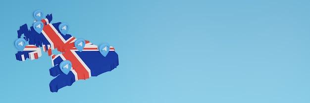3d 렌더링에서 인포그래픽을 위한 알바니아의 소셜 미디어 및 텔레그램 사용