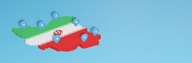 3d 렌더링에서 인포그래픽을 위한 이란의 소셜 미디어 및 텔레그램 사용