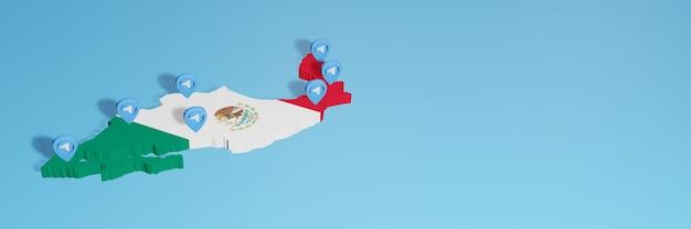 3dレンダリングのインフォグラフィックのためのメキシコでのソーシャルメディアとテレグラムの使用