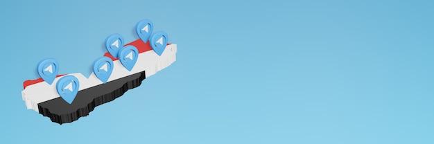 3dレンダリングのインフォグラフィックのためのイエメンのソーシャルメディアとテレグラムの使用