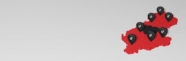 3d 렌더링에서 인포그래픽을 위한 알바니아의 소셜 미디어 및 tik tok 사용