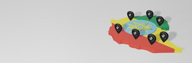 Использование социальных сетей и tik tok в эфиопии для создания инфографики в 3d-рендеринге