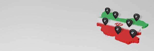 3d 렌더링에서 인포그래픽을 위한 이란의 소셜 미디어 및 tik tok 사용