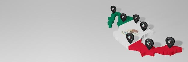 3dレンダリングのインフォグラフィックのためのメキシコのソーシャルメディアとtiktokの使用