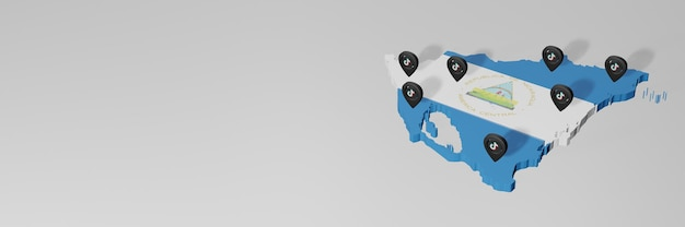 3d 렌더링의 인포그래픽을 위한 니카라과의 소셜 미디어 및 tik tok 사용
