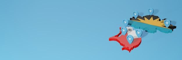 3dレンダリングのインフォグラフィックのためのアンティグアバーブーダでのソーシャルメディアとtwitterの使用