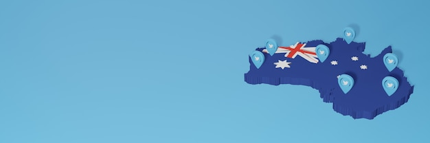 3d 렌더링에서 인포 그래픽을 위해 호주에서 소셜 미디어 및 twitter 사용