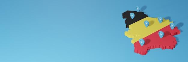 3d 렌더링에서 인포 그래픽을 위해 belgia에서 소셜 미디어 및 twitter 사용