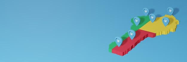 3dレンダリングのインフォグラフィックのためのベニンのソーシャルメディアとtwitterの使用