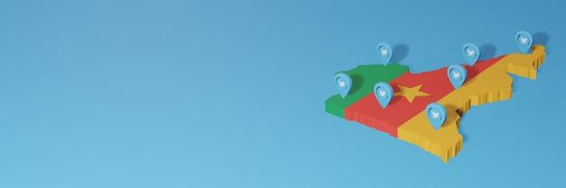 3d 렌더링에서 인포 그래픽을위한 카메룬의 소셜 미디어 및 twitter 사용