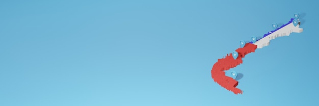 3dレンダリングのインフォグラフィックのためのチリのソーシャルメディアとtwitterの使用