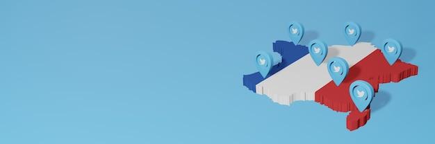 Использование социальных сетей и twitter во франции для создания инфографики в 3d-рендеринге Premium Фотографии