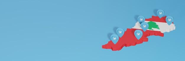 3dレンダリングのインフォグラフィックのためのレバノンのソーシャルメディアとtwitterの使用