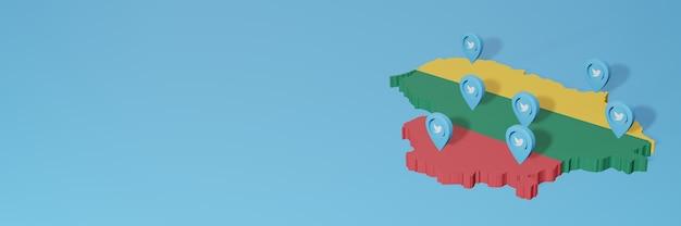 3d 렌더링에서 인포 그래픽을 위해 리투아니아에서 소셜 미디어 및 twitter 사용