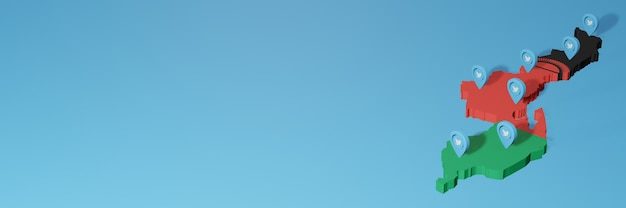 3d 렌더링에서 인포 그래픽을 위해 말라위에서 소셜 미디어 및 트위터 사용
