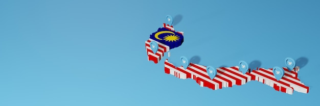 Использование социальных сетей и twitter в малайзии для создания инфографики в 3d-рендеринге