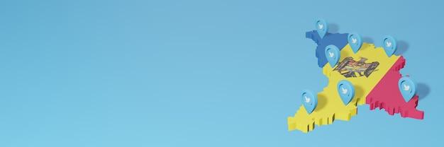 3d 렌더링에서 인포 그래픽을 위해 몰도바에서 소셜 미디어 및 twitter 사용