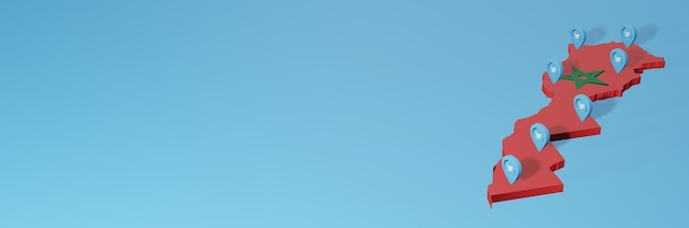 3dレンダリングのインフォグラフィックのためのモロッコでのソーシャルメディアとtwitterの使用
