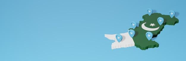 3dレンダリングのインフォグラフィックのためのパキスタンのソーシャルメディアとtwitterの使用