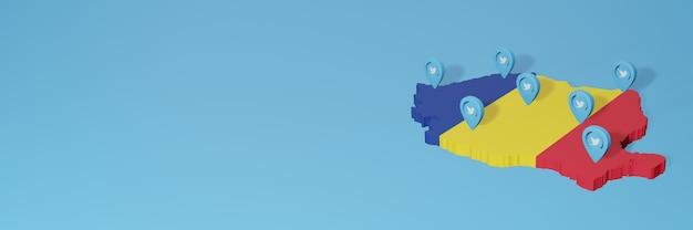 루마니아에서 3d 렌더링의 인포 그래픽을위한 소셜 미디어 및 트위터 사용