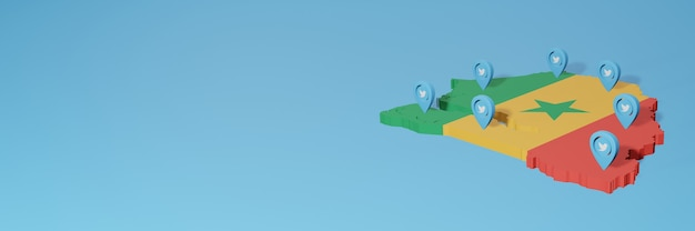 3dレンダリングのインフォグラフィックのためのセネガルのソーシャルメディアとtwitterの使用