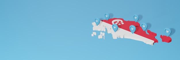 3dレンダリングのインフォグラフィックのためのシンガポールでのソーシャルメディアとtwitterの使用