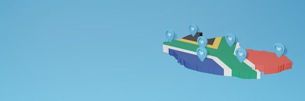 3dレンダリングのインフォグラフィックのための南アフリカでのソーシャルメディアとtwitterの使用