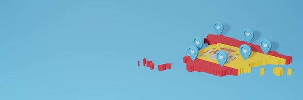 3dレンダリングのインフォグラフィックのためのスペインのソーシャルメディアとtwitterの使用