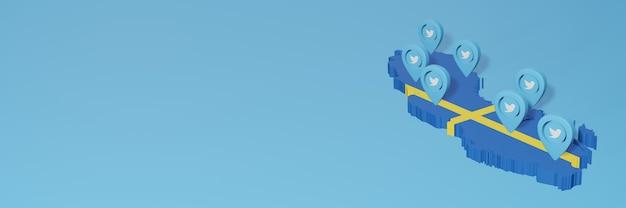 3dレンダリングのインフォグラフィックのためのスウェーデンのソーシャルメディアとtwitterの使用
