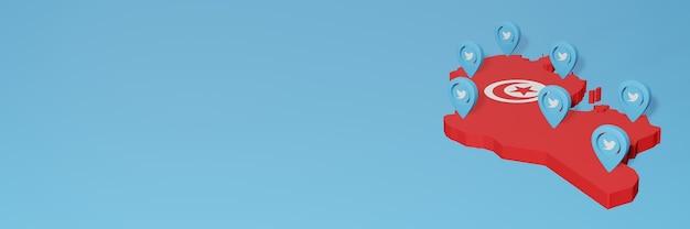 3d 렌더링에서 인포 그래픽을위한 튀니지의 소셜 미디어 및 twitter 사용