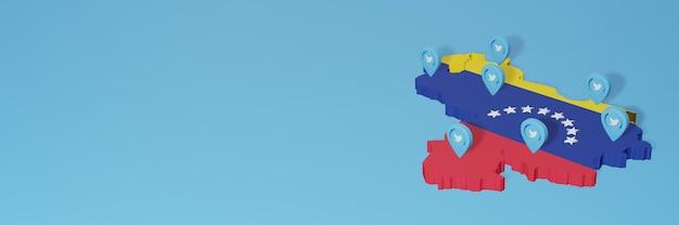 3d 렌더링에서 인포 그래픽을 위해 베네수엘라에서 소셜 미디어 및 트위터 사용