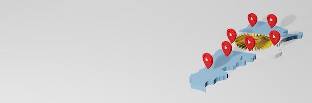 3d 렌더링에서 인포 그래픽을 위해 아르헨티나의 소셜 미디어 및 youtube 사용