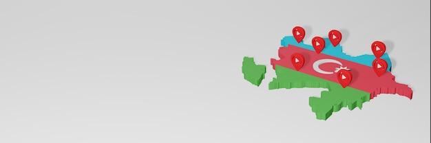 3dレンダリングのインフォグラフィックのためのアゼルバイジャンのソーシャルメディアとyoutubeの使用