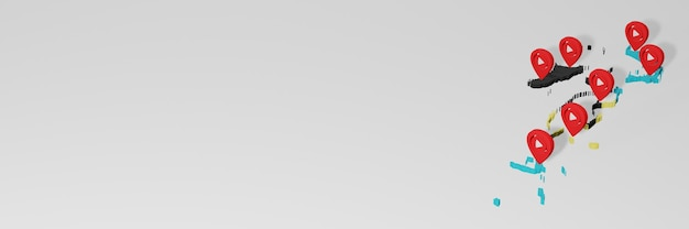 3dレンダリングのインフォグラフィックのためのバハマのソーシャルメディアとyoutubeの使用