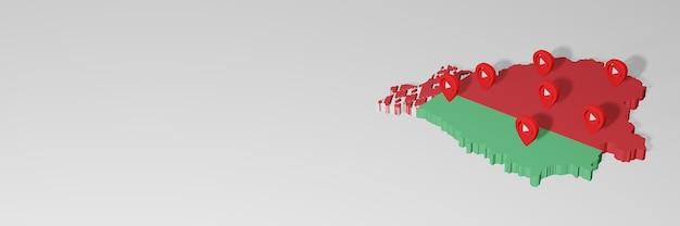 3dレンダリングのインフォグラフィックのためのベラルーシのソーシャルメディアとyoutubeの使用