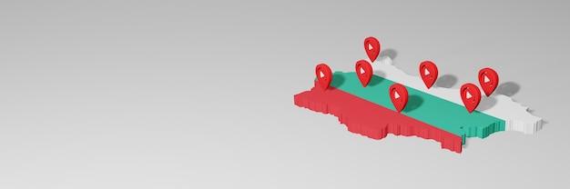 3dレンダリングのインフォグラフィックのためのブルガリアのソーシャルメディアとyoutubeの使用