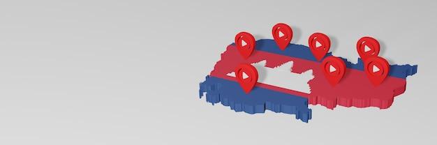 3dレンダリングのインフォグラフィックのためのカンボジアのソーシャルメディアとyoutubeの使用