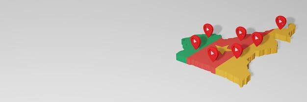 Использование социальных сетей и youtube в камеруне для создания инфографики в 3d-рендеринге