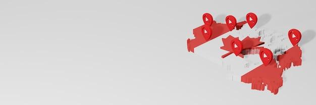 3dレンダリングのインフォグラフィックのためのカナダのソーシャルメディアとyoutubeの使用