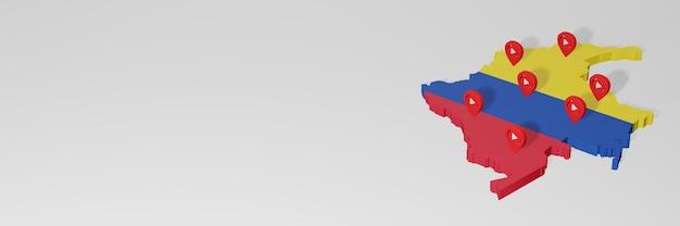 3dレンダリングのインフォグラフィックのためのコロンビアのソーシャルメディアとyoutubeの使用