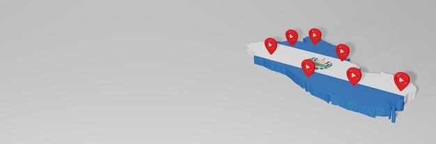 3dレンダリングのインフォグラフィックのためのエルサルバドルのソーシャルメディアとyoutubeの使用
