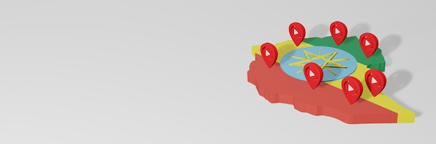 3dレンダリングのインフォグラフィックのためのエチオピアのソーシャルメディアとyoutubeの使用
