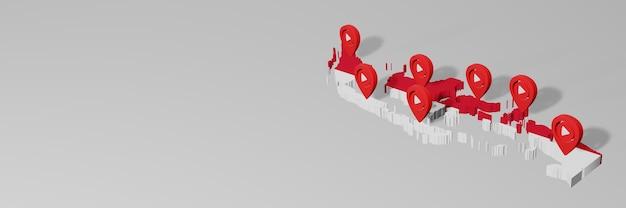 Использование социальных сетей и youtube в индонезии для создания инфографики в 3d-рендеринге