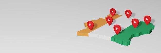 Использование социальных сетей и youtube в кот-д'ивуаре для создания инфографики в 3d-рендеринге