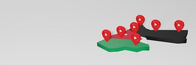 Использование социальных сетей и youtube в иордании для создания инфографики в 3d-рендеринге